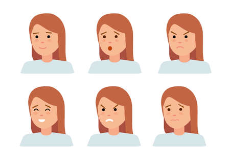 disappear: Set of female facial emotions. Woman emoji character with different expressions.