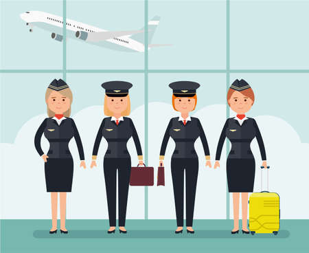 Women pilots and flight attendants. Vector illustration in flat style