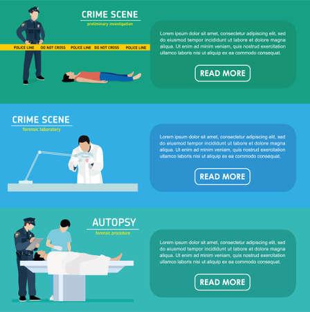 Mordforschung Banner. Polizist. Forensisches Labor
