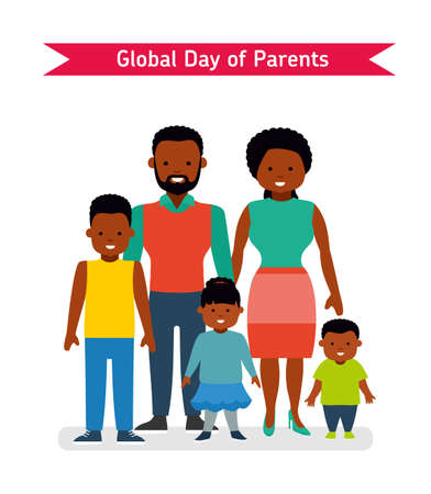 Global Day of Parents. Happy Parents with children. Illustration
