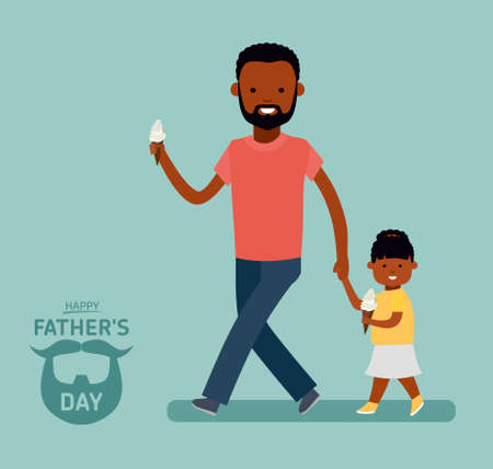 Happy Fathers Day. Dad with daughter. Greeting card