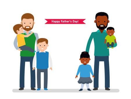 father and child: Happy Fathers Day. Two happy father with children, single dad European, the other dad is African American. Illustration