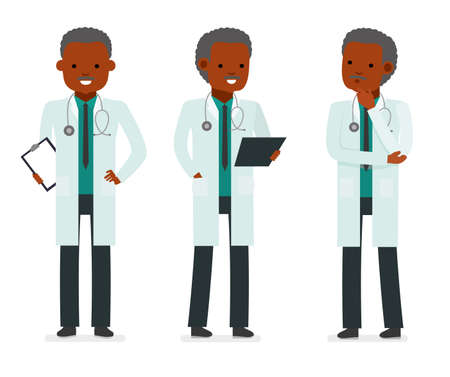 saline: Set character male doctor in various poses. Element for medical information poster.