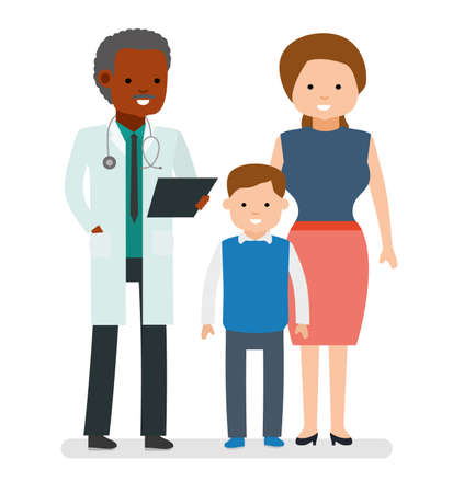 Caring for the health of the child. The pediatrician and the mother with son on a white background.