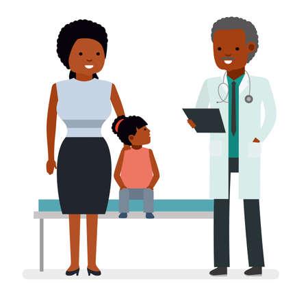 Een bezoek aan de dokter. De dokter zegt het goede nieuws de moeder van het kindmeisje van een ziekenhuispatiënt.