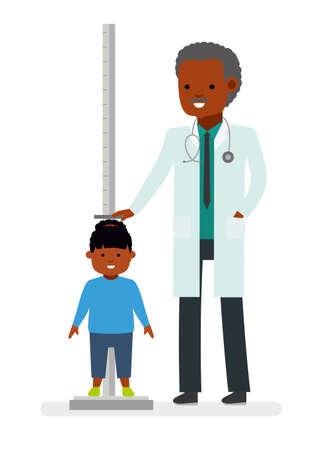 의사 방문. 의사는 아이 소녀 환자의 성장을 측정합니다. 아프리카 계 미국인. 플랫 스타일의 벡터 일러스트 레이션