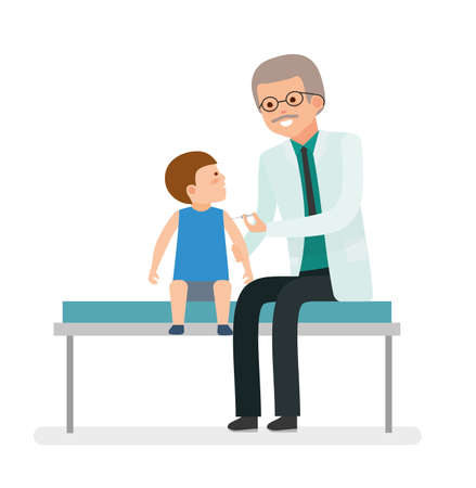 A visit to the doctor. Caring for the health of the child. Vaccination. The pediatrician makes a shot boy patient.