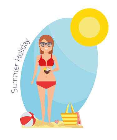 Happy young woman enjoying and drinking cocktails on the beach with sun. Welcome to the sea beach. Cartoon flat illustration of vacation time spending and relaxing in the seaside