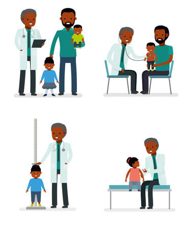 Caring for the health of the child. Set of pediatrician and the father with son and daughter on a white background. African American family. Illustration