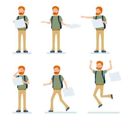 Character creation set, a redhead traveler with a map. Different poses and emotions, running, standing. Full length, rear view isolated, white background. Vector illustration in a flat cartoon style