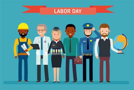 Dag van de Arbeid. Een groep mensen van verschillende beroepen op een witte achtergrond.