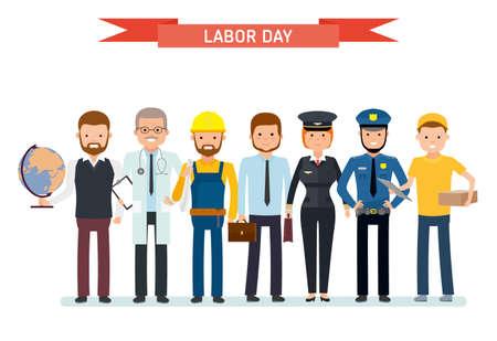 Dag van de Arbeid. Een groep mensen van verschillende beroepen op een witte achtergrond. Leraar, dokter, bouwheer, zakenman, piloot, agent, koerier. Vectorillustratie in een vlakke stijl