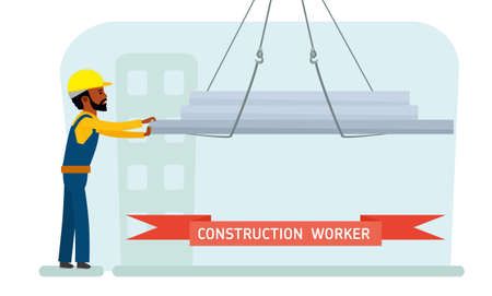 Construction worker. Construction site. Builder with a concrete wall. African american people. Vector. 矢量图片