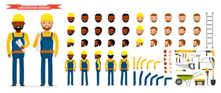 Construction worker Character creation set. Male worker in blue overall, Various poses and emotions, running, standing, walking, working.