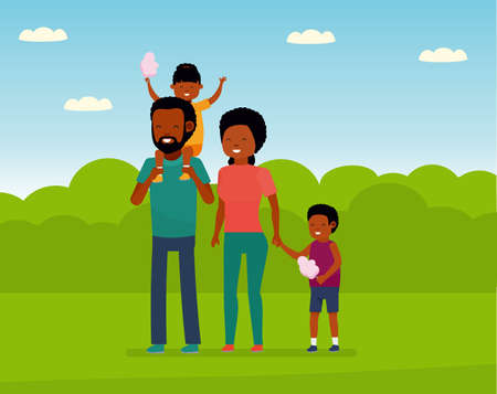 Family leisure. African family in the amusement Park. Family walks in the Park, children eating cotton candy. Stock Photo