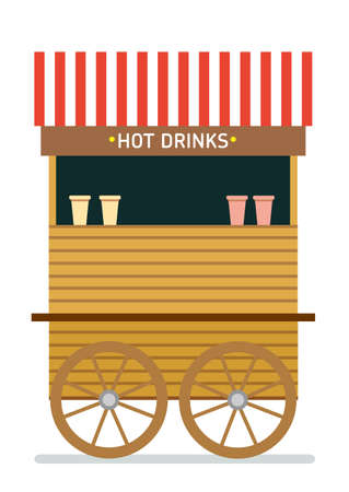 Street food cart vector illustration. Hot drinks. Isolated illustration on white background. Flat style illustration