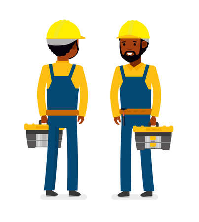 Construction worker with tool bag illustration. African American people. Cartoon flat style.