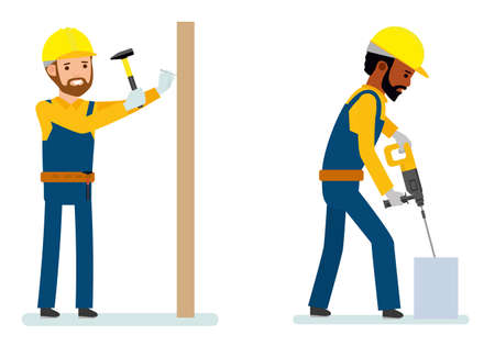 Set of male construction worker, worker strikes with a hammer a nail, worker drilling concrete. Isolated against white background. Vector illustration. African American people. Cartoon flat style.
