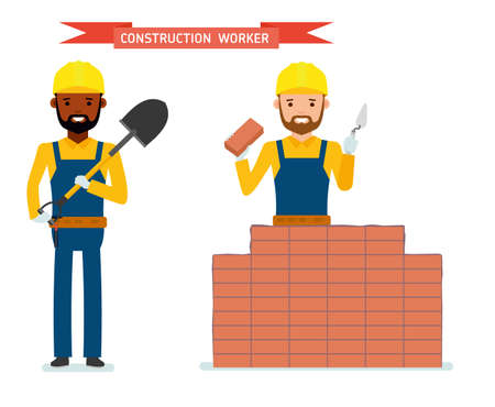 Set of male construction worker, worker lays bricks, worker standing with a shovel in his hands. Isolated against white background. Vector illustration. African American people. Cartoon flat style. Illustration