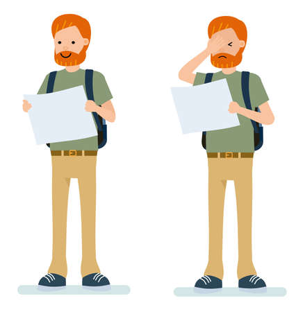 Set of male traveler with a map. Isolated against white background. Vector illustration. Cartoon flat style.
