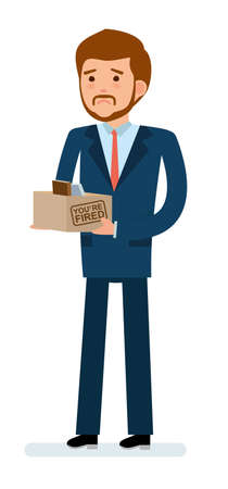 Getting fired. Businessman holding a box with his stuff. Flat design vector illustration. Иллюстрация