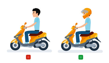 The guy rides a moped with a helmet and without a helmet, and safety regulations. Illustration