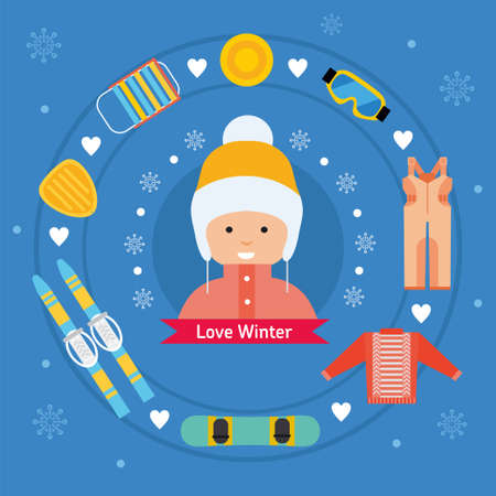 stating: Winter kid activity flat icon banner. Girl in winter outfit.