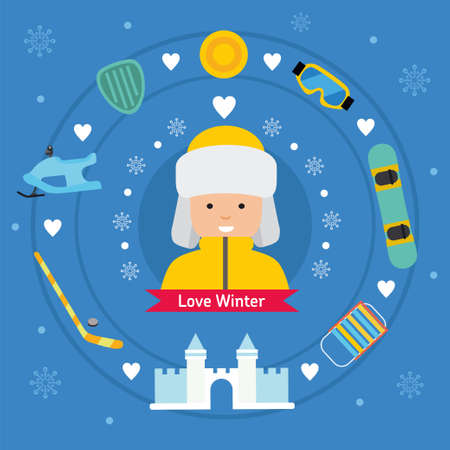 stating: Winter kid activity flat icon banner. Boy in winter outfit.