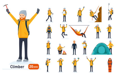 Climber set. Ready to use character set. Climber with a pick on top of a mountain, tourist hiking, resting, walking, trekking. Isolated white background. Vector illustration. Cartoon flat style. Vettoriali
