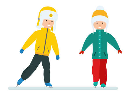 Winter vacation set. Childrens winter holidays. Boy and girl skating on ice. Childrens friendship. Vector illustration. Cartoon flat style.