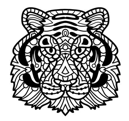 Vector Tiger. Tiger face illustration, Tiger head print for adult anti stress coloring page. Hand drawn artistically ornamental patterned decorative animal for tattoo, boho design Çizim