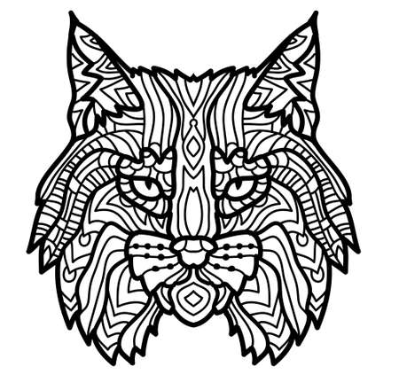 Hand drawn lynx head animal isolated. Doodle line graphic design. Black and white drawing mammal. Vector illustration lynx head sketch graphics monochrome