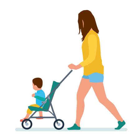 Illustration of a mother and her baby inside the stroller on a white background. Vector flat cartoon illustration. People in the Park