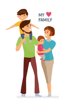 Happy family. Father, mother, son and daughter. Parents are keeping on the hands of their children.