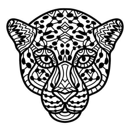 Hand-drawn Cheetah with ethnic doodle pattern. Coloring page - zendala, design for spiritual relaxation for adults, vector illustration, isolated on a white background. Vettoriali