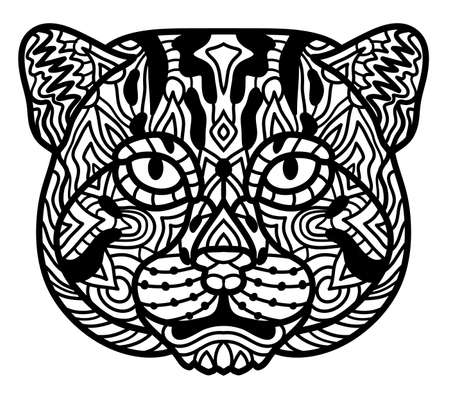 Cat angler black white vector. Zen art. Hand drawn animal portrait in zen style for adult coloring page. Zendoodle. Illustration on a white background.