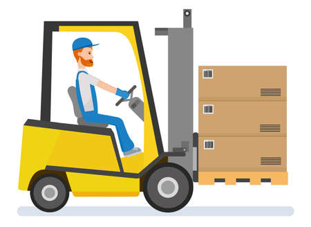 warehousing. Forklift driver stacking pallets with boxs by stacker loader. Иллюстрация