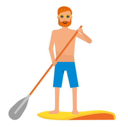 Caucasian man doing water sport with Vector cartoon flat illustration standing on a surfboard with a paddle. Illustration