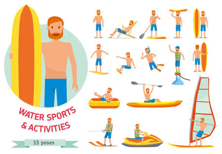 Summer water beach sports, activities set. Man windsurfing, surfing, jet water skiing, paddleboarding, tubing, parasailing, wakeboarding, kitesurfing, Vector flat-style illustration.