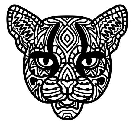 Hand-drawn wild cat with ethnic doodle pattern. Coloring page, zendala, design for spiritual relaxation for adults, vector illustration, isolated on a white background, zen doodles.