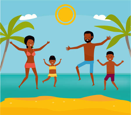 Happy family jumping together on the beach. Cartoon vector illustration. Sea tour. African american family. Flat cartoon illustration.