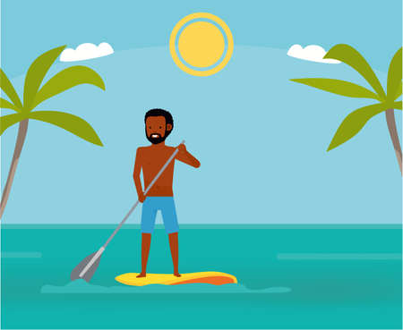 Stand up paddle boarder exercising in the ocean. Summer Vacation. Cartoon vector illustration. Sea tour. African american family. Flat cartoon illustration. Lifestyle.