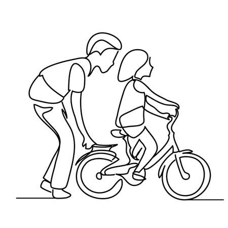 One line drawing of father helping child to drive bicycle. People in the Park Ilustração