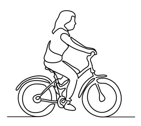 Woman riding a bicycle. Young girl wearing summer clothes. Vector monochrome, drawing by lines. Continuous line drawing. People in the Park 일러스트