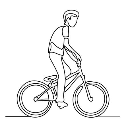 Continuous line drawing. Boy on bike. Vector illustration. People in the Park