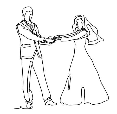 Wedding couple dancing. Continuous line drawing. Isolated on the white background. Vector monochrome, drawing by lines