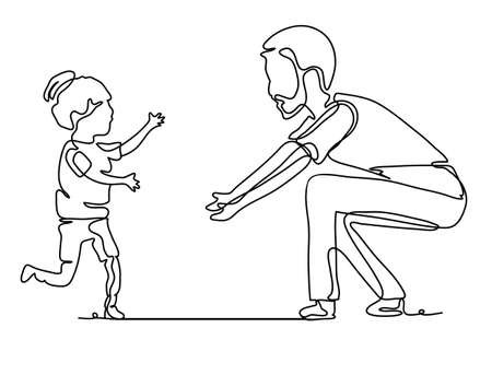 Pretty cute girl running to her father. Continuous line drawing. Vector monochrome, drawing by lines. People in the Park. Ilustração