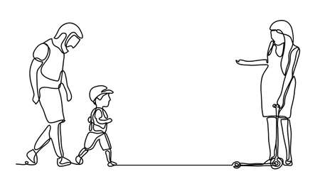 Family Walking in the park. Continuous line drawing. Vector monochrome, drawing by lines. Illustration