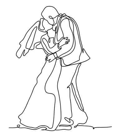 Bride and Groom, Kissing Romantic Married Couple. Continuous line drawing. Isolated on the white background. Vector monochrome, drawing by lines. sketch