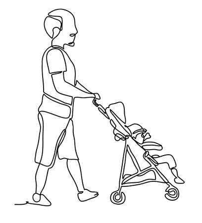 Full length portrait of a male pushing a baby stroller isolated on white background. Continuous line drawing. Vector monochrome, drawing by lines.